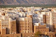 Panorama van Shibam, Hadhramaut provincie, Yemen Stock Afbeeldingen