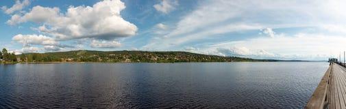 Panorama van siljan meer Stock Foto's