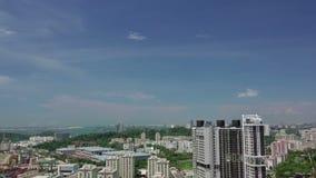 Panorama van Singapore en Containerhaven Lucht Mening stock videobeelden