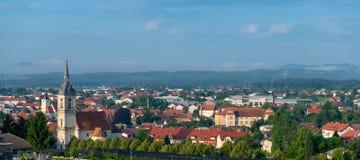 Panorama van Slovenska Bistrica, Slovenië Stock Afbeeldingen