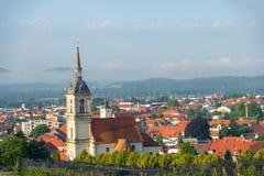Panorama van Slovenska Bistrica, Slovenië Stock Foto