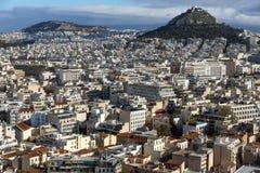 Panorama van stad van Athene van Akropolis, Attica, Griekenland stock afbeeldingen