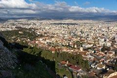 Panorama van stad van Athene van Akropolis, Attica, Griekenland royalty-vrije stock afbeelding