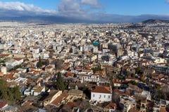 Panorama van stad van Athene van Akropolis, Attica, Griekenland royalty-vrije stock foto's