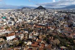 Panorama van stad van Athene van Akropolis, Attica, Griekenland stock foto's