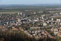 Panorama van stad van Shumen, Bulgarije stock foto's