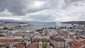 Panorama van stad van Genève stock video