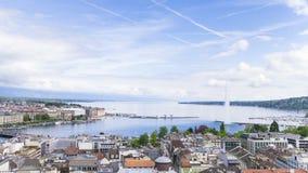 Panorama van stad van Genève, Leman Lake a stock videobeelden