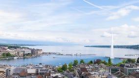 Panorama van stad van Genève, Leman Lake en het Water stock videobeelden