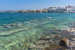 Panorama van stad van Naoussa, Paros-eiland, Griekenland Stock Fotografie
