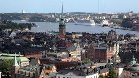 Panorama van Stockholm stock footage