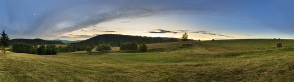 Panorama van Sudety-bergen in Polen royalty-vrije stock afbeelding
