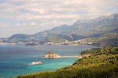 Panorama van Sveti Stefan, Montenegro royalty-vrije stock foto