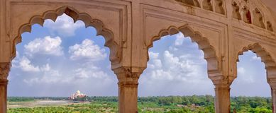 Panorama van Taj Mahal van Agra-Fort in Agra, India royalty-vrije stock foto