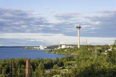 Panorama van Tampere, Finland stock foto