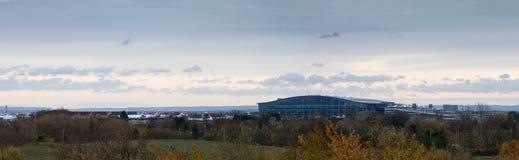 Panorama van Terminal 5 van Heathrow stock foto
