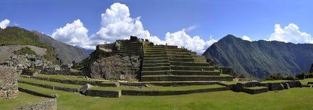 Panorama van Terrassen in Macchu Picchu stock afbeeldingen