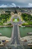 Panorama van Trocadero van de Toren van Eiffel, Parijs, Frankrijk stock fotografie