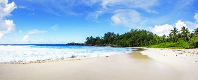 Panorama van tropisch strand palmen, granietrotsen en turkoois wat royalty-vrije stock foto