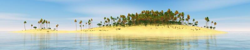Panorama van tropisch strand Zonsondergang op zee stock afbeelding