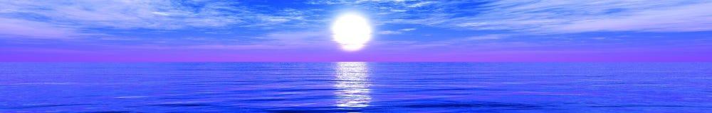 Panorama van tropisch strand Zonsondergang op zee royalty-vrije stock foto