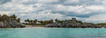 Panorama van Tulum van de Oceaan, Quintana Roo Royalty-vrije Stock Foto's