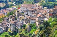 Panorama van Tursi. Basilicata. Italië. Stock Foto
