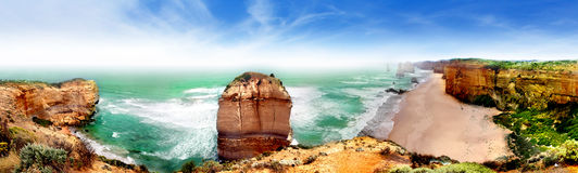 Panorama van Twaalf apostelen, Australië Stock Afbeelding