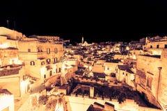 Panorama van typische stenen Sassi di Matera en kerk van het Europese Kapitaal van Unesco van Matera van Cultuur 2019 Stock Afbeelding