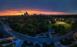 Panorama van uit het stadscentrum Toronto bij zonsondergang royalty-vrije stock fotografie