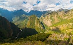 Panorama van Urubamba-Vallei van Machu Picchu, Peru Stock Fotografie