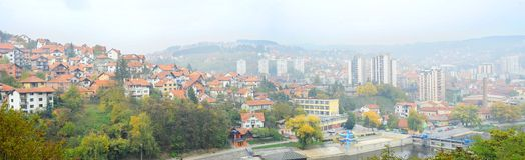 Panorama van Uzice, Servië royalty-vrije stock foto