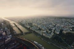 Panorama van van Parijs, Frankrijk met de toren van Eiffel Royalty-vrije Stock Foto