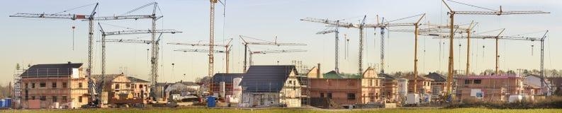 Panorama van vele woonhuizen in bouw Stock Fotografie