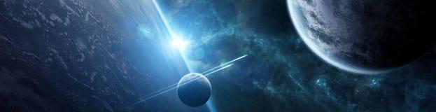 Panorama van ver planeetsysteem in ruimte 3D teruggevende elementen stock illustratie