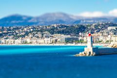 Panorama van Villefranche-sur-Mer, Nice, Franse Riviera Stock Afbeeldingen