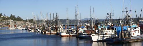 Panorama van vissersboten bij anker royalty-vrije stock afbeelding