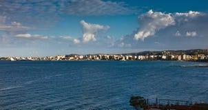 Panorama van Vlora, Albanië stock afbeeldingen