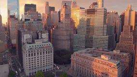 Panorama van Wall Street van New York stock video