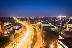 Panorama van Warshau bij nacht Stock Afbeeldingen