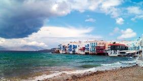Panorama van weinig Venetië op Mykonos-Eiland Stock Foto