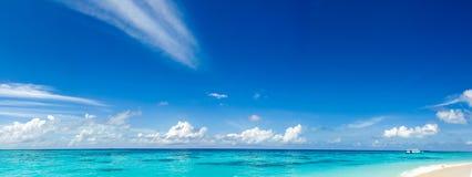 Panorama van wilde tropische Caraïbische kust Stock Fotografie