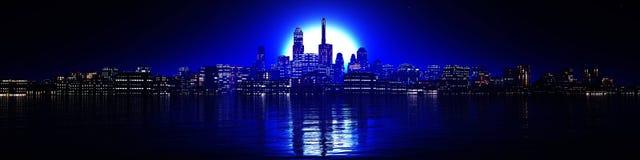 Panorama van wolkenkrabbers van high-rise gebouwen vector illustratie