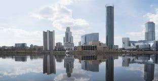 Panorama van wolkenkrabbers Yekaterinburg Stock Foto