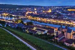 Panorama van Wurzburg bij nacht Royalty-vrije Stock Afbeelding