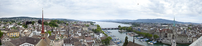 Panorama van Zürich Stock Foto's