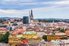 Panorama van Zagreb Stock Afbeeldingen