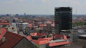 Panorama van Zagreb stock videobeelden