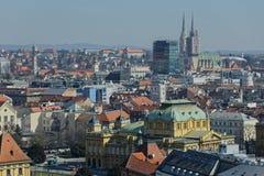 Panorama van Zagreb stock foto