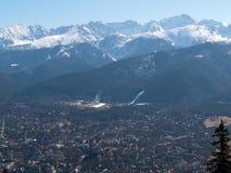 Panorama van Zakopane-stad stock foto's